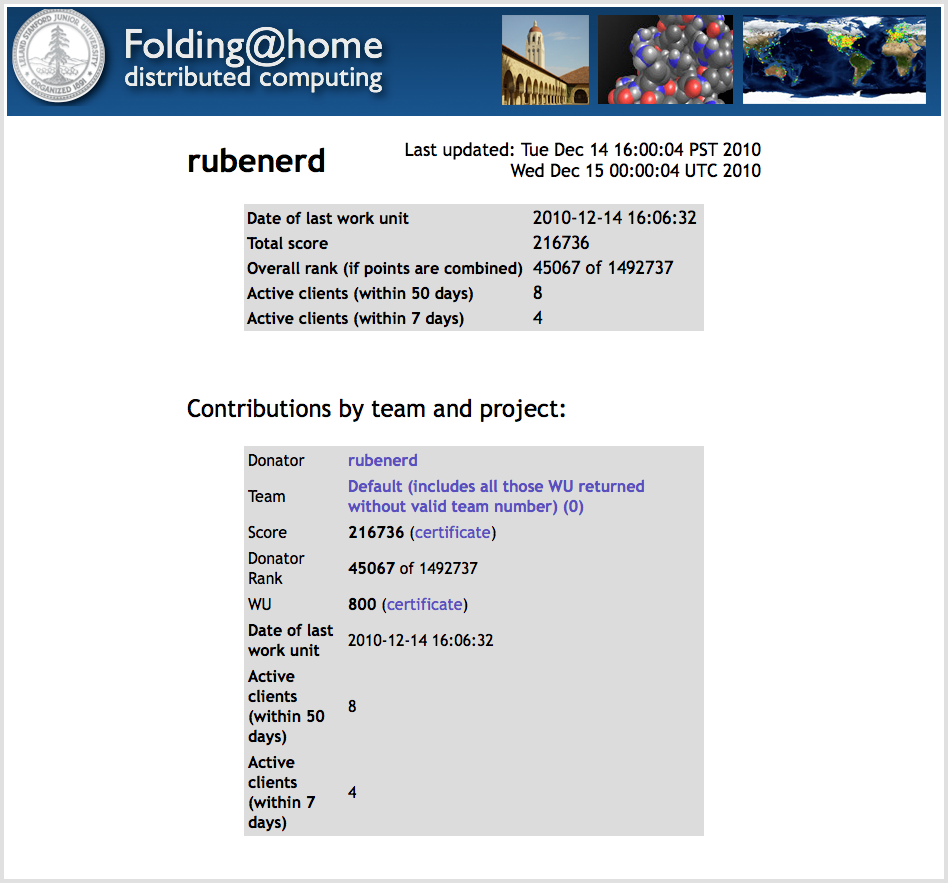 Screenshot showing Folding@Home score of 216736, with 800 work units