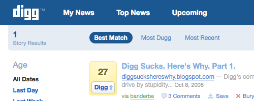 Screenshot of Digg Sucks story on Digg