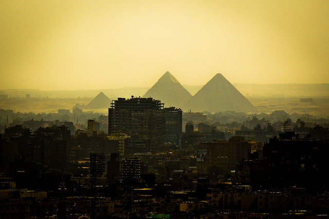 Photo of Cairo buildings creeping up to the Pyramids of Giza