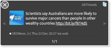 Tweet discussing study that Australians are less likely to develop cancer