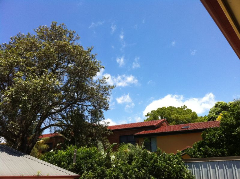 Clear blue sky above our place of residence