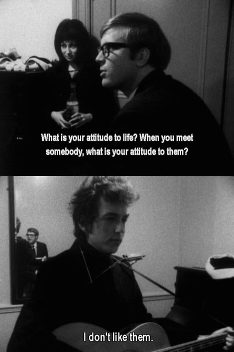 Screencaps from a documentary. Dialogue: What is your attitude to live? When you meet somebody, what is your attitude to them? Dylan: I don't like them.