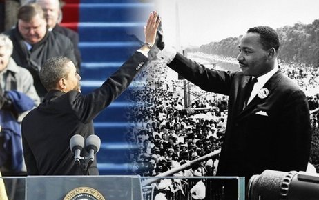 Photoshopped image of Obama high-fiving MLK