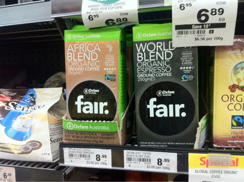 Photo of Woolworths in Sydney stocking Oxfam coffee