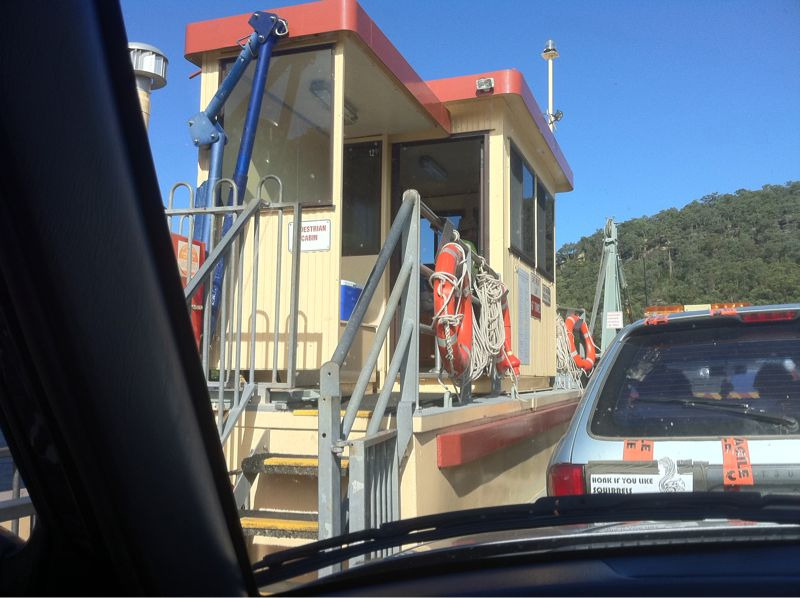 Photo of cars loaded onto the Webb Creek ferry thingy
