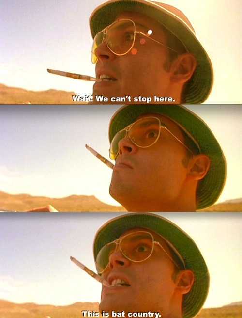 Screencaps from Fear and Loathing in Las Vegas. Dialogue: Wait! We can't stop here! This is bat country.