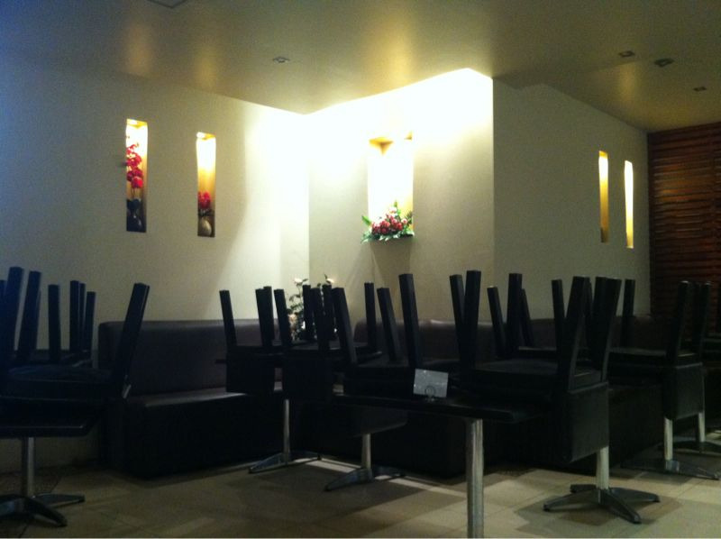 Restaurant with chairs on all the tables