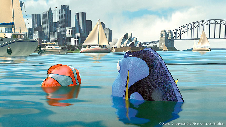 Screenshot from Finding Nemo as they arrive in Sydney