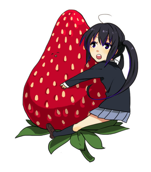 Art of Asunyan hugging a gigantic strawberry