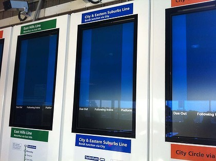 Empty CityRail train signs