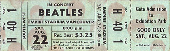 Ticket stub to see The Beatles for $3.25 in Vancouver