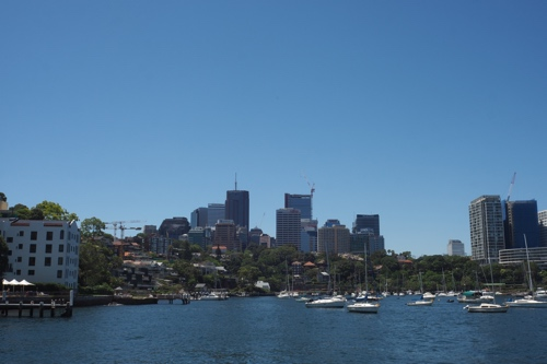 Pulling away from the McMahon's Point pier, looking back at North Sydney.