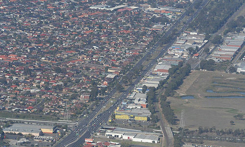 Aerial view of w:Fawkner, Victoria looking south, from Sydney Road / Western Ring Road, by Wongm on Wikimedia Commons