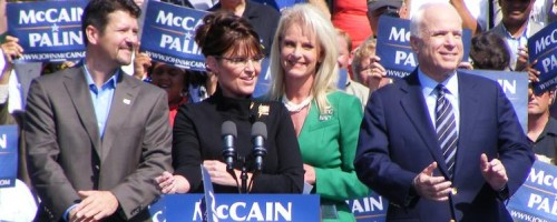 Sarah Palin seen here with John McCain as they discuss her stunning dialog with Russian officials.