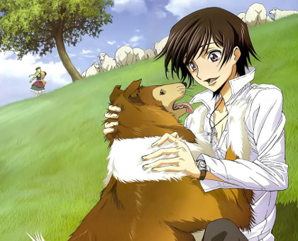 Lelouch with his dog. That didn't sound right.