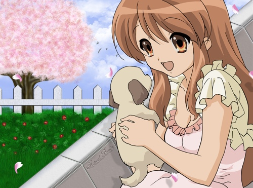 Asahina Mikuru with a very cute… damn it, you were supposed to be holding a moose!