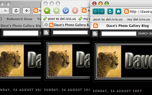 Safari, Camino and Netscape Navigator rendering Dave's Photo Gallery