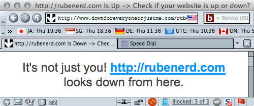 Down For Everyone Or Just Me reporting Rubenerd.com is down