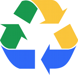 Classic recycling icon, with colours taken from Google Drive
