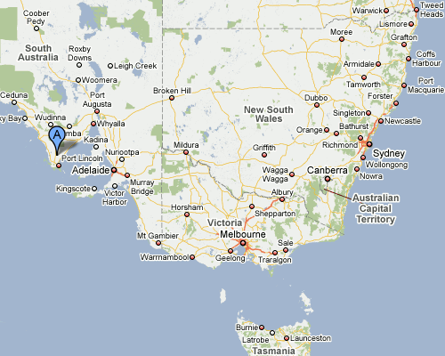 Google Map showing the Eyre Peninsula (blue pushpin)