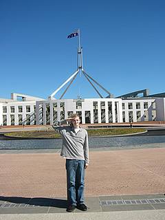 Me in front of Parliament house in Canberra!