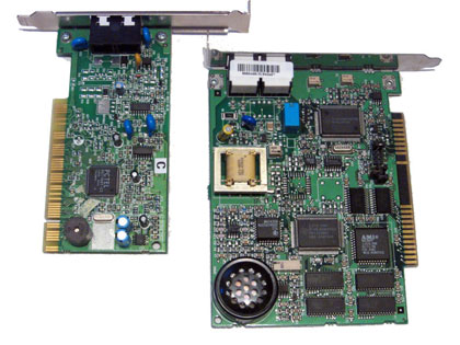 A WinModem card compared to a regular analogue hardware card.