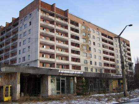 An abandoned high rise residential tower