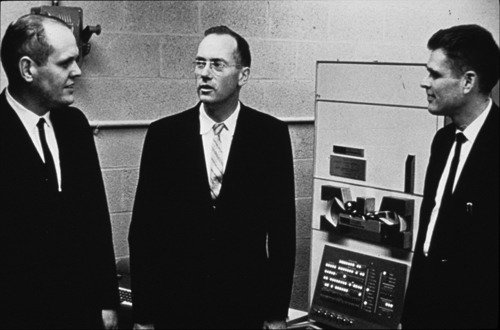 Ken Olsen, Charles Townes, Peter Elias with a PDP-1