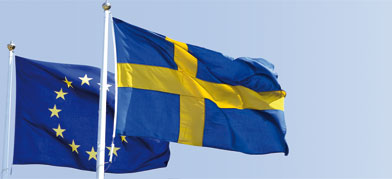 Flags of the European Union and Sweden