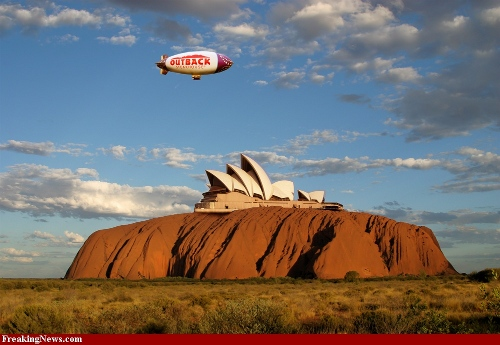 Uluru with the Sydney Opera House perched on top, and an Outbake Stakouse blimp