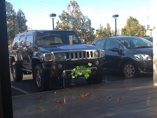 Hummer outside the Boatdeck Cafe yesterday