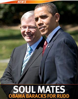 Aussie PM Kevin Rudd with Barack Obama