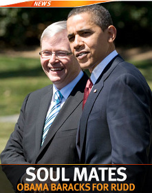 Aussie PM Kevin Rudd with Barack Obama