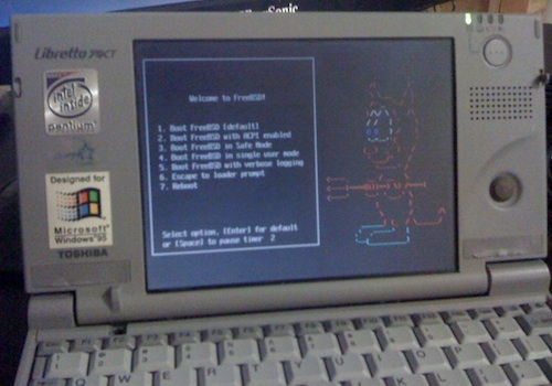 FreeBSD running on my Libretto 70CT