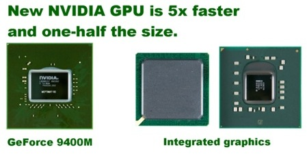 Promotional image for the new NVidia chip comparing sizes with Intel's integrated graphics