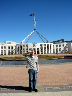 Ruben saluting outside Parliament House :-)