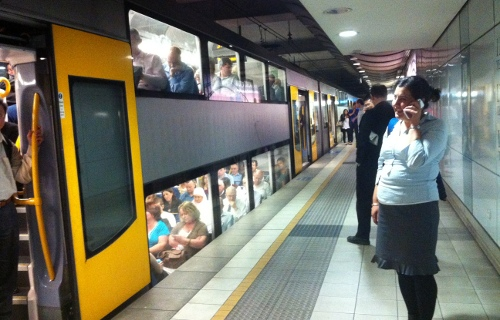 Photo taken during one of the extended waits, where the driver kept the train doors open