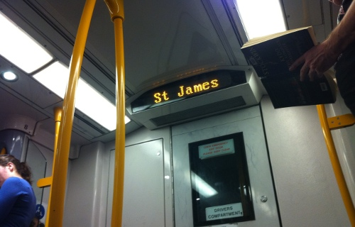 Station indicator board showing us St James, when were at the Domestic Airport station!