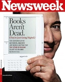 Jeff Bezos on the cover of Newsweek, with the original Kindle