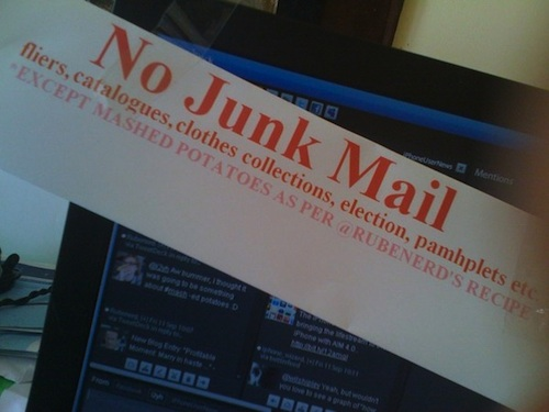 Neal O'Carroll's No Junk Mail sign