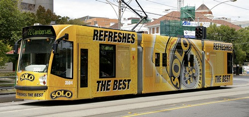 Solo advertisement on a tram, by