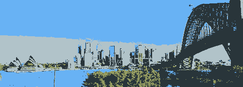 Dithered picture of Sydney's CBD using onlt four colours.