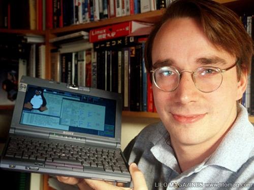 Photo of Linus holding the same laptop I had!