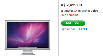 The 30-inch Cinema Display in the Apple online store.