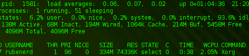 top showing on FreeBSD