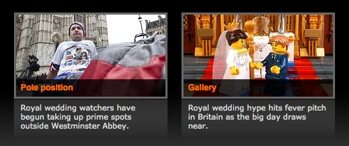 Screenshot about the ABC's royal wedding coverage