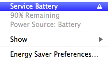 Service Battery error in Mac OS X