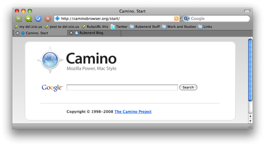 Camino on Mac OS X Leopard