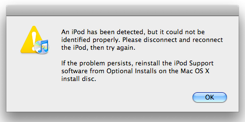 An iPod has been detected, but it could not be identified properly.