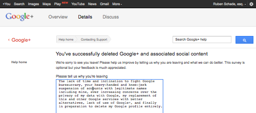 You've successfully deleted Google+ and associated social content